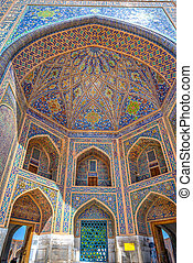 Colorful dome of tilya-kori madrasah, Samarkand Registan