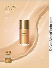 Skin toner ads poster, glass bottle mockup for ads or...