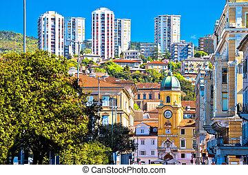 City of Rijeka architecture view, clock tower and...