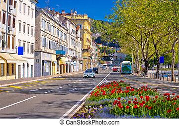 City of Rijeka Delta street view in springtime, Kvarner bay,...