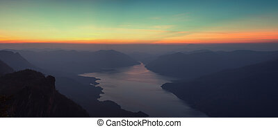 Mae Ping National Park at sunrise, Pha dang luang view...