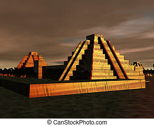 pyramids - digital scene with prehistoric mexican pyramids