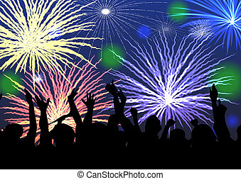 Fireworks and crowd