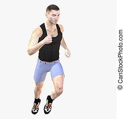 Pose - Digital rendering / Pose of a running man