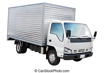 Lorry. Isolated - White truck over white.