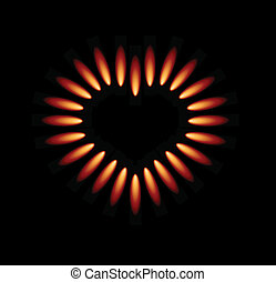 Vector gas stove with red flames