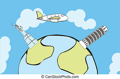 Airplane flying around the globe - Vector airplane flying...