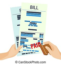 Paid bill in human hands with rubber stamp vector...