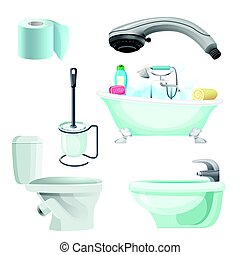 Set of bathroom equipment realistic vector illustration. Bidet, toilet, bath