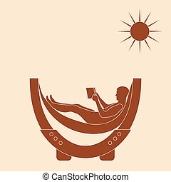 Vector illustration of man resting in a hammock with a book....