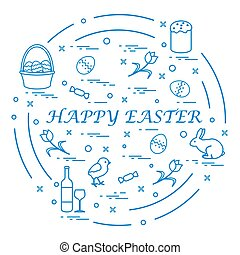 Cute vector illustration with different symbols for Easter...