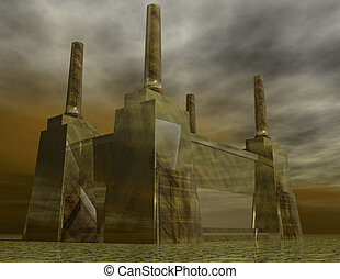 power station - digital rendering of a power station