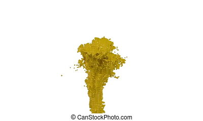 fountain of yellow paint like car paint on white background...