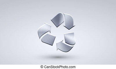 animation full metal rotation recycle icon on blue...