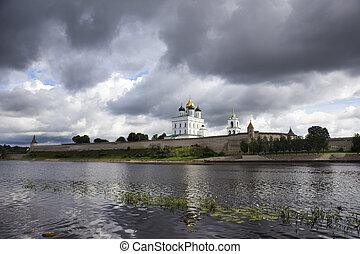 View of the Trinity Cathedral in the Pskov Kremlin with...