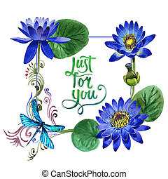 Wildflower blue lotus flower frame in a watercolor style...