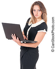 Business woman on white - Beautiful business woman with...