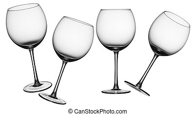 wine glasses - empty wine glasses in four different angles