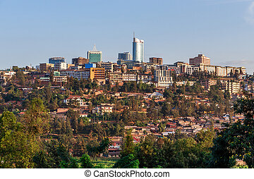 Panoramic view at the city bussiness district of Kigali,...