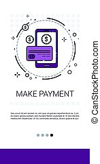 Online Payment Service Mobile Transaction Banner Vector...