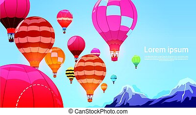 Colorful Air Balloons Flying In Sky Banner