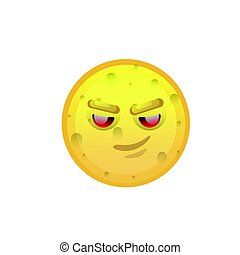 Yellow Smiling Face Cunning Negative People Emotion Icon...