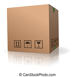 cardboard box carton container with reflection isolated on...