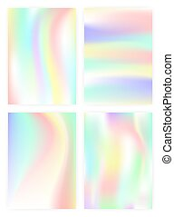 Set of vertical abstract backgrounds with holographic effect. vector illustration.