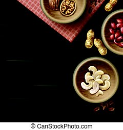Different nuts in bowls - Vector different nuts in wooden...