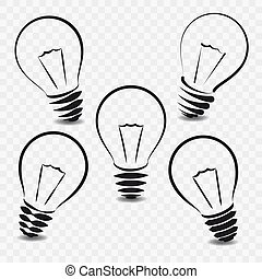 Set of lamps on white background.