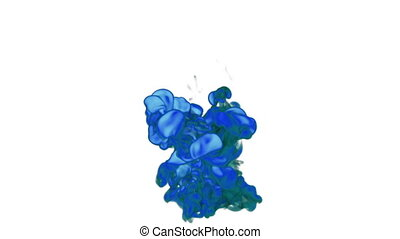 Close-up blue Ink or smoke in water move in slow motion with alpha mask. VFX Cloud of Ink for transitions, background, overlay and effects. For alpha channel use alpha matte. 3d Ink background Ver 10
