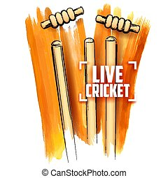 Cricket stumps and blowing bail - llustration of Cricket...