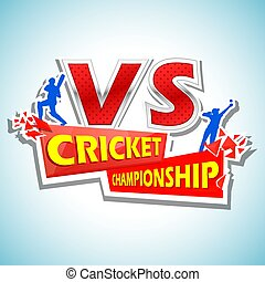 Batsman and bowler playing cricket championship -...