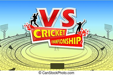 Stadium of Cricket with pitch and VS versus text