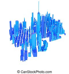 3d rendered blue skyline isolated on white background