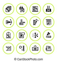 Set round icons of modern window isolated on white. Vector...