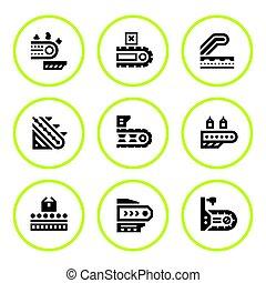 Set round icons of conveyor