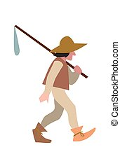 Medieval peasant in hat and with sack vector illustration...