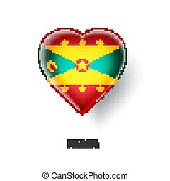 Patriotic heart symbol with Grenada flag