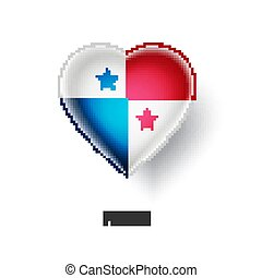 Patriotic heart symbol with Panama flag