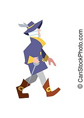 Renaissance musketeer in suit and with sword vector...