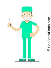 Doctor in medical uniform with scalpel