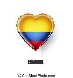 Patriotic heart symbol with Colombia flag