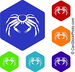 Snow crab icons set hexagon isolated vector illustration