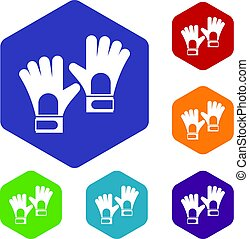Gloves of goalkeeper icons set hexagon isolated vector...