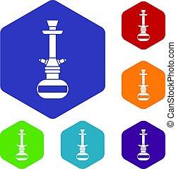 Arabic hookah icons set hexagon isolated vector illustration