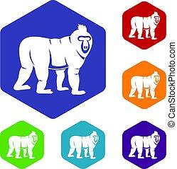 Mandrill monkey icons set hexagon isolated vector...