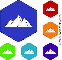 Pyramids in Giza icons set hexagon