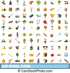 100 rural icons set, cartoon style