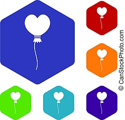 Balloon in the shape of heart icons set hexagon